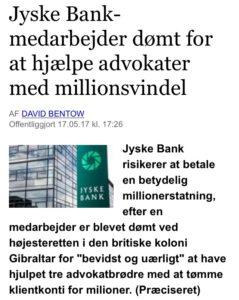 Jyske bank dømt for at hjælpe advokater med million svindel, men jyske bank har meget på deres kæmpe læs af sager